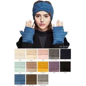 C.C Accessories - C.C Fingerless Solid Color Glove W. Sherpa Lining